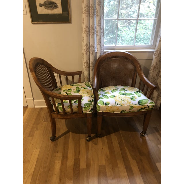 Mid-Century Modern Mid Century Cane Back Rolling Chairs - a Pair For Sale - Image 3 of 12