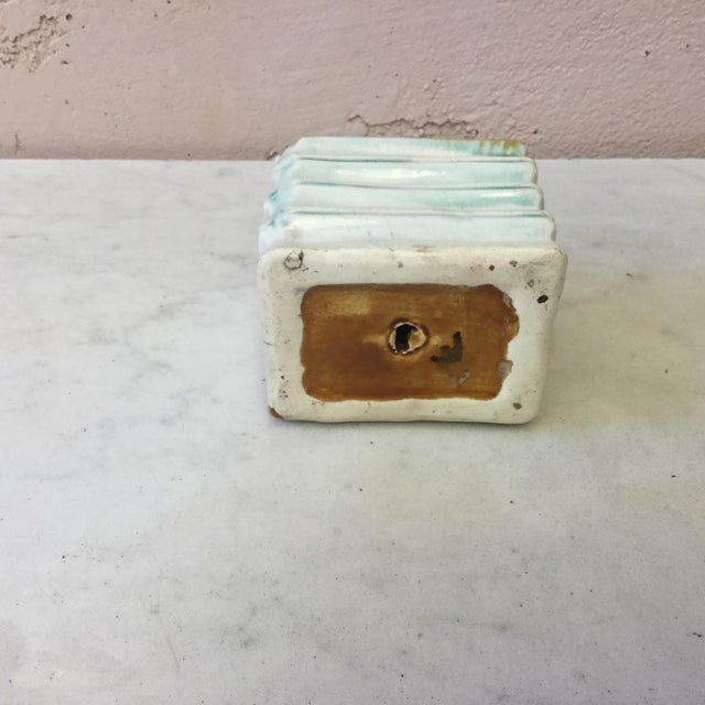 1900 - 1909 Majolica Onnaing Book Money Bank Box Circa 1900 For Sale - Image 5 of 6