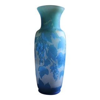 French Turquoise Blue and White Cameo Glass Vase, Signed For Sale