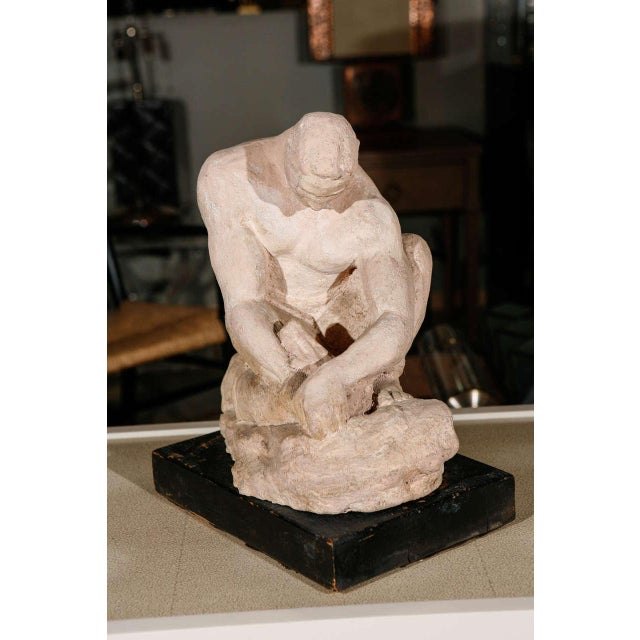 WPA Sculpture of Man in Thought - Image 5 of 8