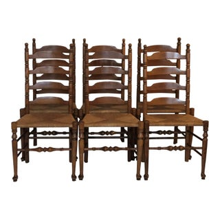 French Country Solid Maple Ladder Back Chairs – Set of 6