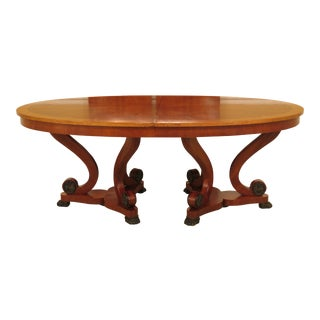 1990s Regency Henredon Banded Top Dining Room Table For Sale