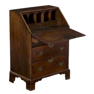 Circa 18th Century George II Oak Child's Size Miniature Slant Front Desk