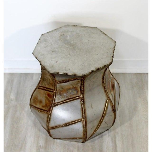 Brutalist Mid-Century Modern Welded Metal Drum Side End Table C. 1970s For Sale - Image 3 of 6
