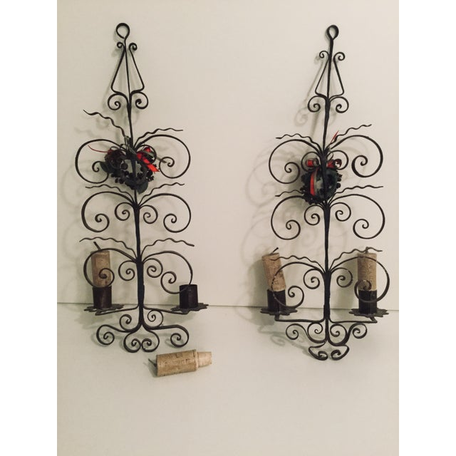 Italian Metal Scroll Candle Sconces - A Pair For Sale - Image 4 of 8