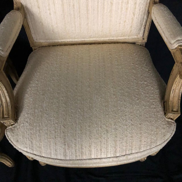 Louis XIV Neoclassical Style Cream Painted French Bergere Armchairs -A Pair For Sale In Portland, ME - Image 6 of 13