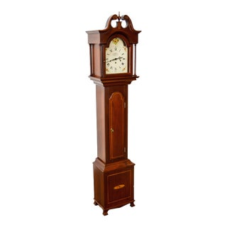 New England Clocks Co. Mahogany Inlaid Grandmother Clock