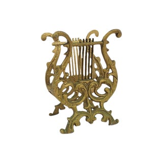 1950s Brass Lyre Magazine Rack For Sale