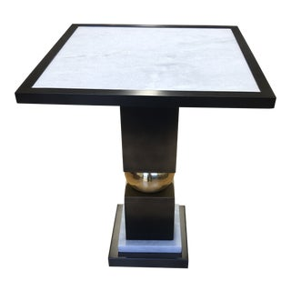 Global Views Squeeze Bronze + Marble Side Table For Sale