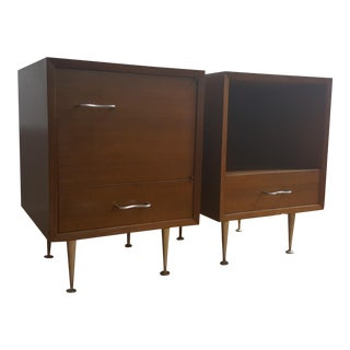 Early George Nelson Walnut Thin Edge Nightstands - a Pair
