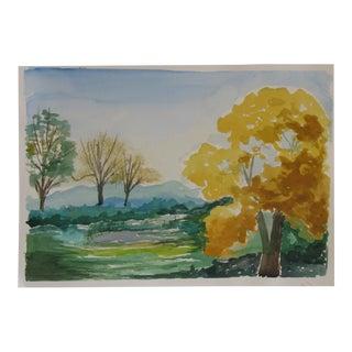 Mountain Aspen Watercolor For Sale