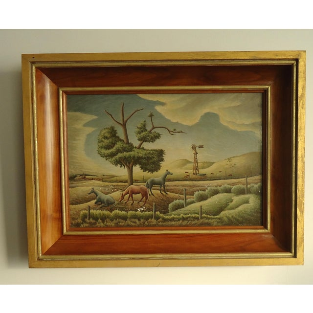 A regionalist American Nebraska prairie landscape with horses by Aaron Pyle (1903 - 1972), it is signed and dated 52. This...