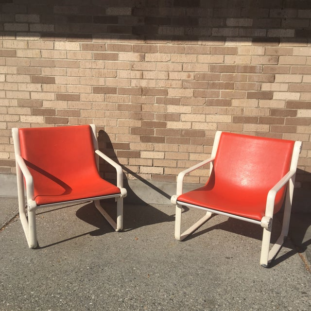 Knoll Knoll Iconic Orange Shell Lounge Chairs - A Pair For Sale - Image 4 of 8