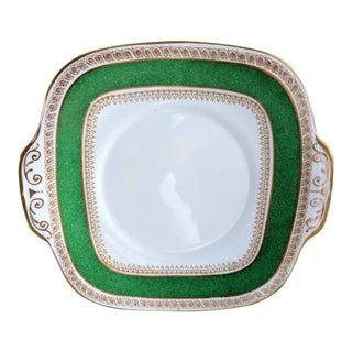 1930s Vintage Crown Staffordshire Green Rimmed 18kt Gold China Cake Plate For Sale