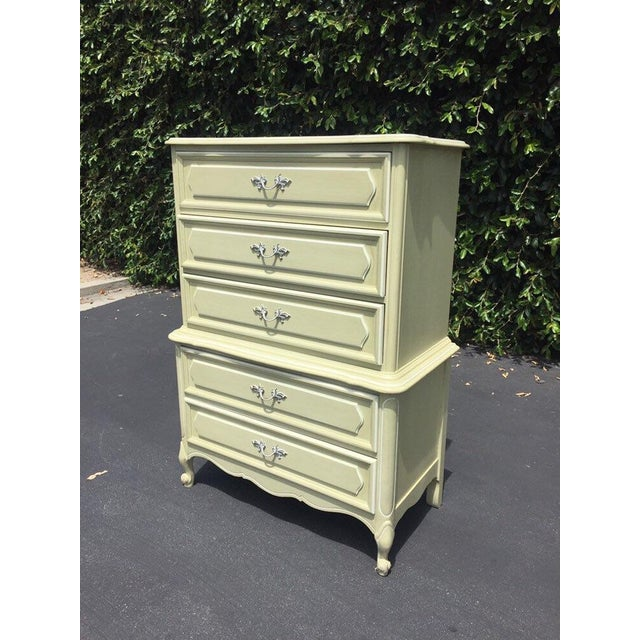 Romantic French Provincial Design with 5 Drawers. Solid Wood with Original Light creamy Avocado Green finish. The chest...