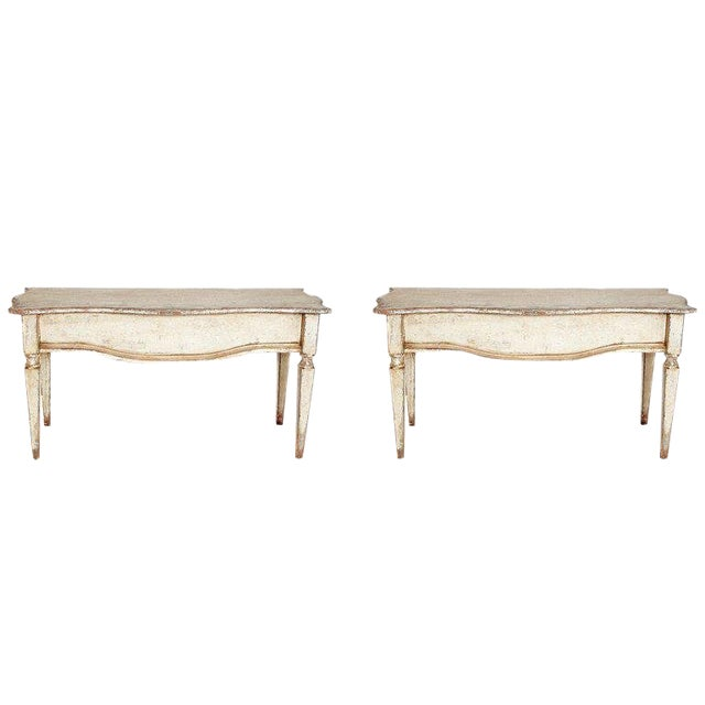 Pair of French Painted and Gilt Console Tables For Sale