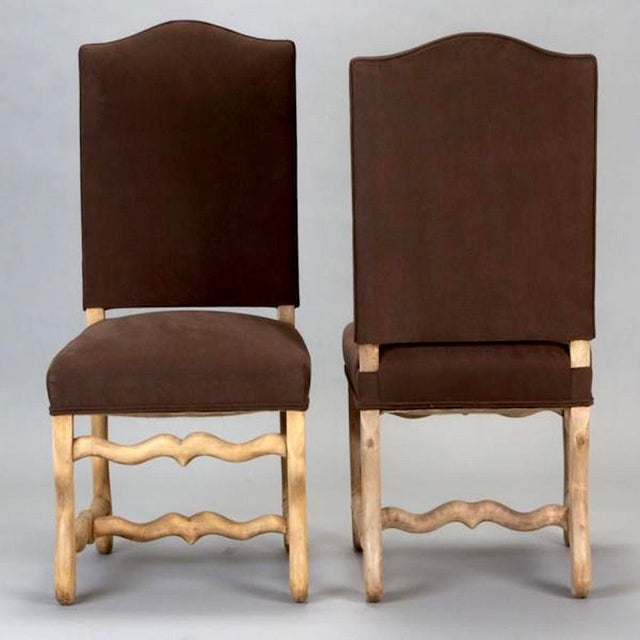 Set of 6 French Os De Mouton Louis XIII Bleached Oak Upholstered Dining Chairs - Image 3 of 8