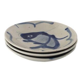 Vintage Blue & Gray Asian Koi Fish Bowls - Set of 3