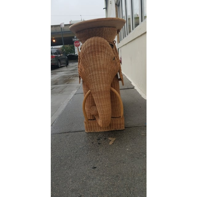 Mario Torres 1980's Mario Torres Style Wicker Elephant Bar For Sale - Image 4 of 8