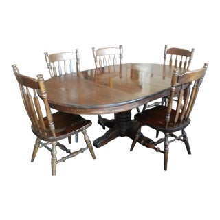 1970s American Classical Ethan Allen Pine Dining Set - 6 Pieces For Sale