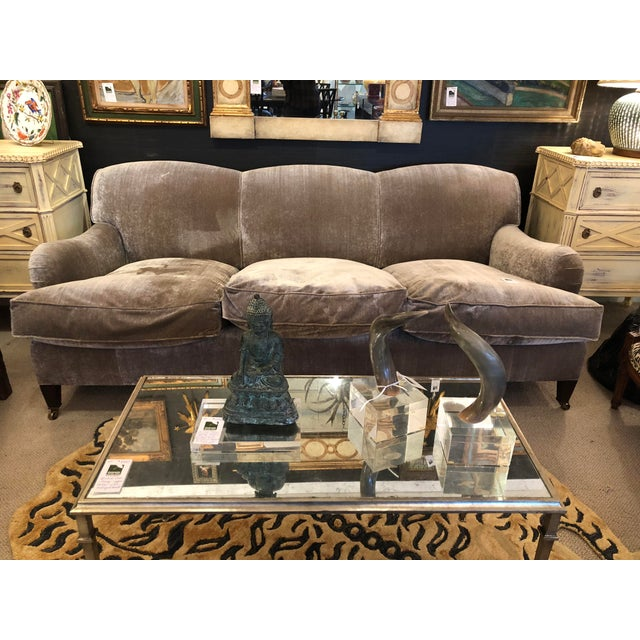 Modern George Smith Taupe Silk Velvet Sofa For Sale - Image 12 of 12