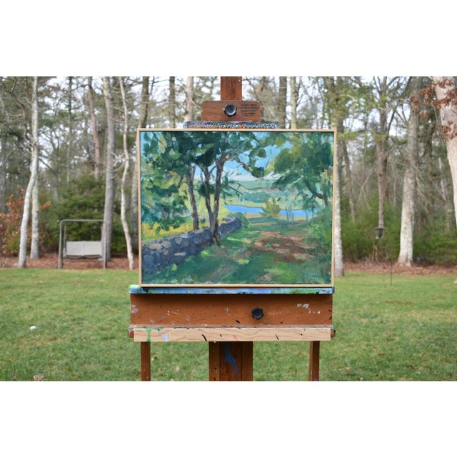 """Green """"River View"""" Contemporary Landscape AcrylicPainting by Stephen Remick, Framed For Sale - Image 8 of 10"""