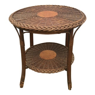 Antique Boho Chic Natural Wicker Round Table For Sale