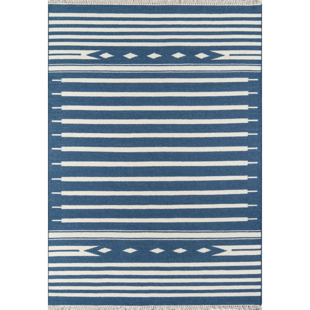 Erin Gates by Momeni Thompson Billings Denim Hand Woven Wool Area Rug - 7′6″ × 9′6″ For Sale