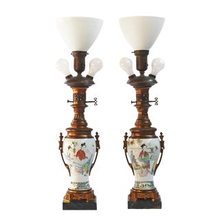Pair of 18th Century Chinese Gilt Mounted Porcelain Vases as Lamps