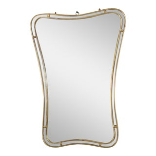 Mid-Century Modern Italian Mirror #2 Brass Band For Sale