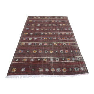 Vintage Turkish Sardes Kelim Embroidered Rug For Sale