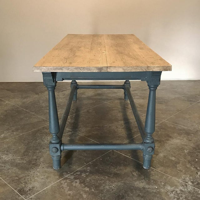 Antique Painted Dining Table With Stripped Top For Sale - Image 9 of 12