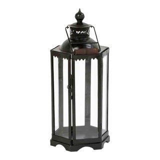 Iron and Glass Lantern For Sale