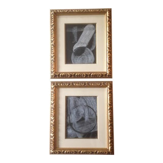 Abstract Black and White Charcoal and Pastel Drawings in Gold Frames - a Pair For Sale