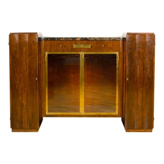Narrow French Art Deco Rosewood and Marble Sideboard with Bronze Doors Circa 1925 For Sale