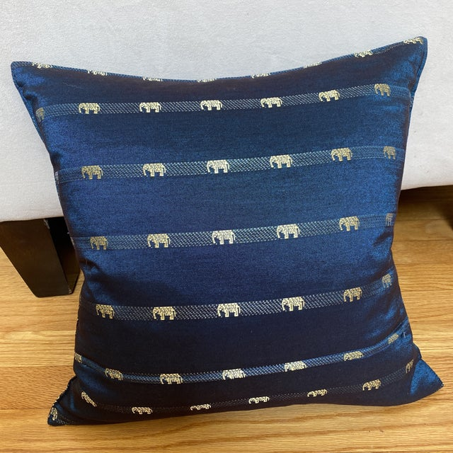 Blue Thai Silk Pillow With Elephant Motif For Sale - Image 10 of 13