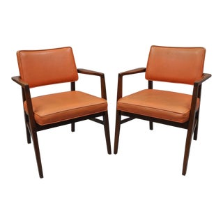 Vintage B L Marble Mid Century Modern Walnut Arm Chairs - a Pair For Sale