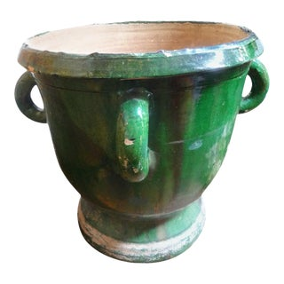 Large 19th Century French Green Glazed Terra-Cotta Planter For Sale
