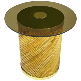 Reeded Bamboo and Brass Smoked Glass Side Table For Sale