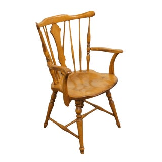Late 20th Century Vintage Cushman Colonial Maple Dining Arm Chair For Sale