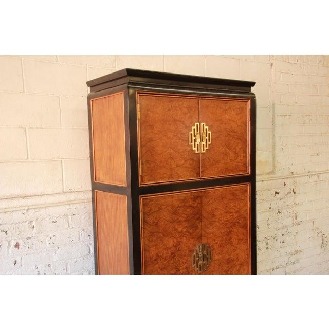 Century Furniture Black Lacquer & Burlwood Armoire - Image 7 of 11