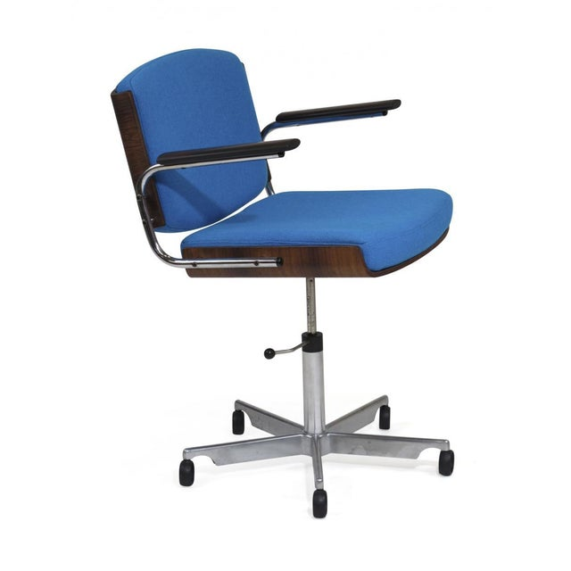 Danish Rosewood and Chrome Office Chair in Turquoise Wool For Sale In San Francisco - Image 6 of 10
