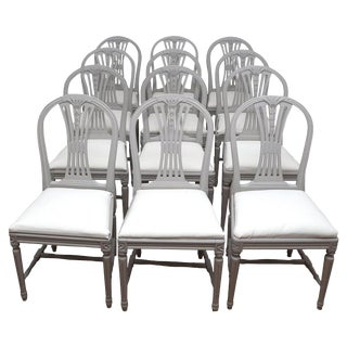 1920s Vintage Swedish Gustavian Style Dining Chairs - Set of 12 For Sale