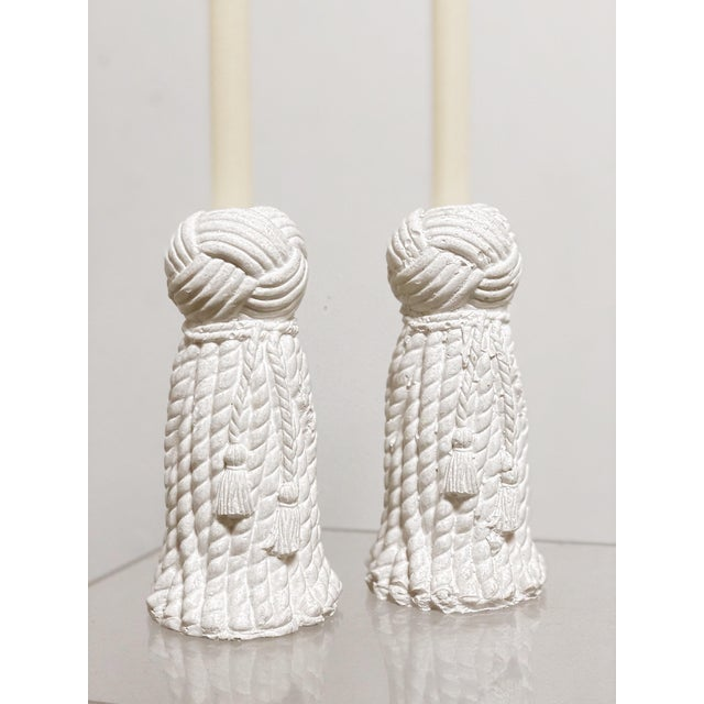1970s 1970s Vintage Rope & Tassel Candlesticks - a Pair For Sale - Image 5 of 9
