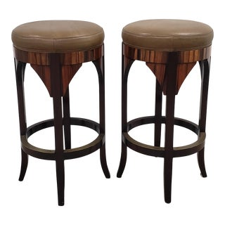 "Pair of ""Jansen"" Contemporary Rosewood & Leather Bar Stools by Dessin Fournir For Sale"