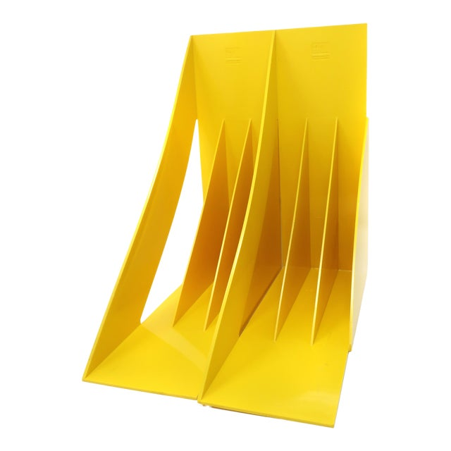 Pair of Yellow Record or Magazine Racks by Giotto Stoppino for Heller For Sale