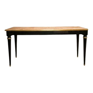 French Directoire Style Ebonized Console or Sofa Table Oblong Marble Top Jansen For Sale