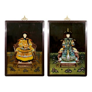 Hand-Painted Chinese Royalty in Black Frames - A Pair For Sale