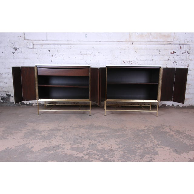 1950s Paul McCobb Irwin Collection Mahogany and Brass Sideboard Cabinets (2 Available) For Sale - Image 5 of 13