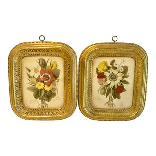 Mid 20th Century Gilded Italian Floral Plaques - a Pair For Sale